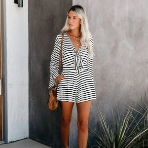 NWOT Striped Pocketed Soft Nautical Tie Romper